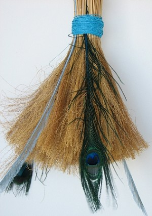"35"" Willow Round Broom Plain Bright Blue Straw"