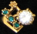 Emerald & Cubic Zircon Ring #27 Size 6 1/2